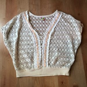 Free People Cream Crochet Top In Small